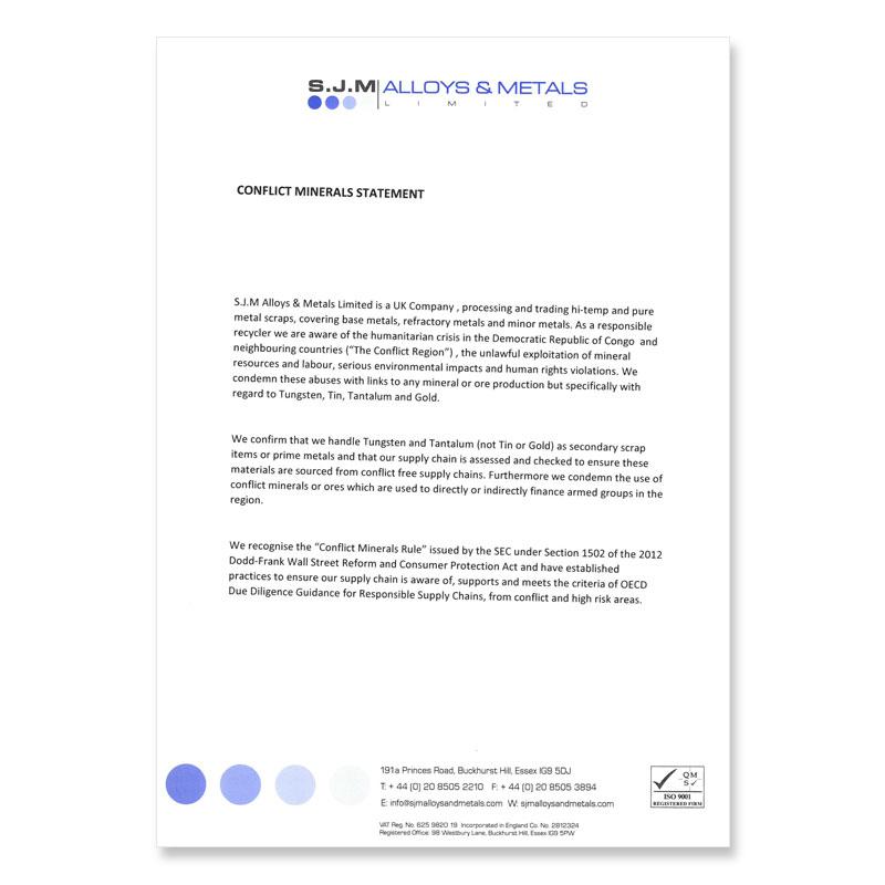 Conflict Minerals Statement